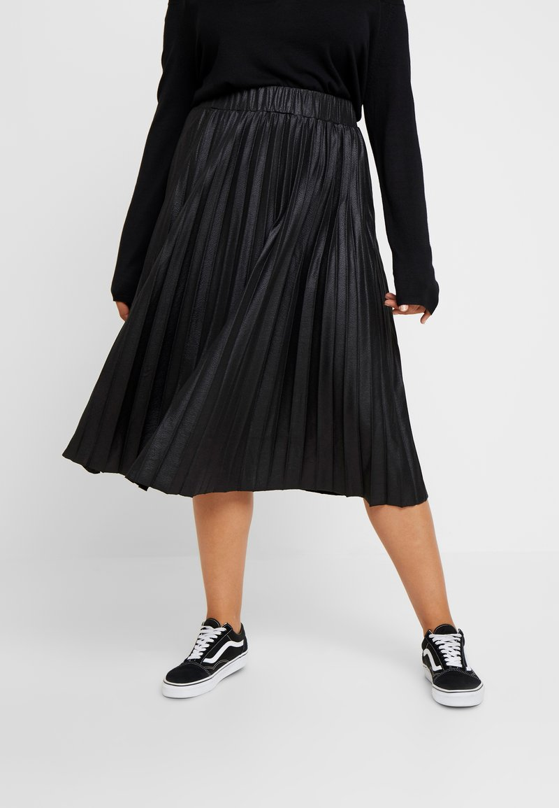 Lost Ink Plus - PLEATED SKIRT IN COATED - A-Linien-Rock - black