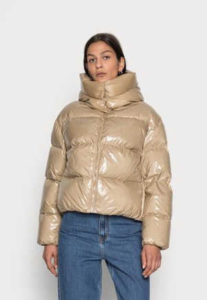 GLOSSY DOWN PUFFER JACKET - Down jacket - beige