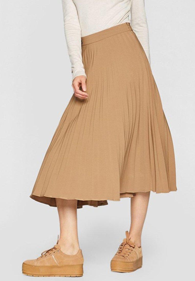 Stradivarius - PLISSIERTER ROCK  - Plisovaná sukně - beige