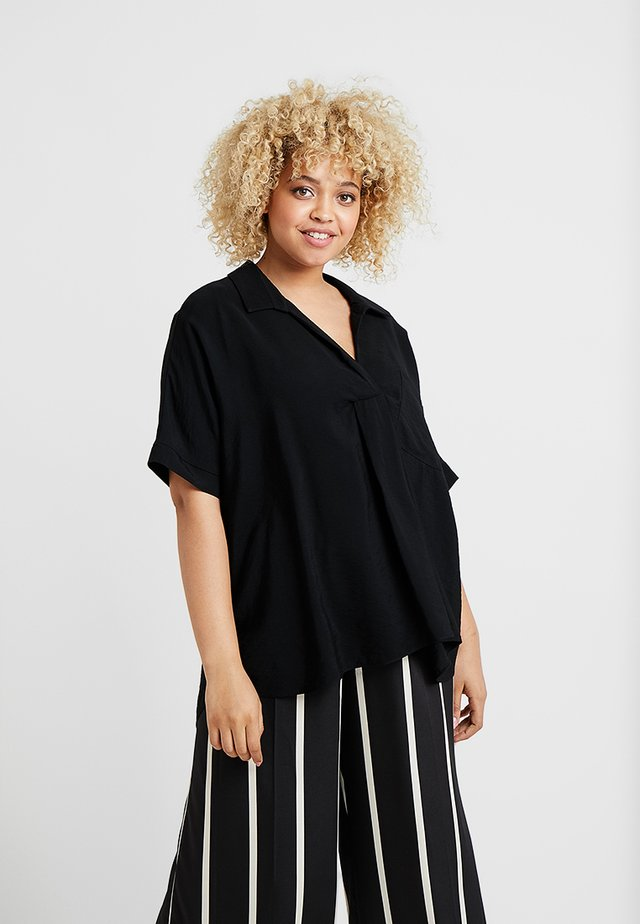 HIGH LOW HEM BLOUSE - Blusa - black