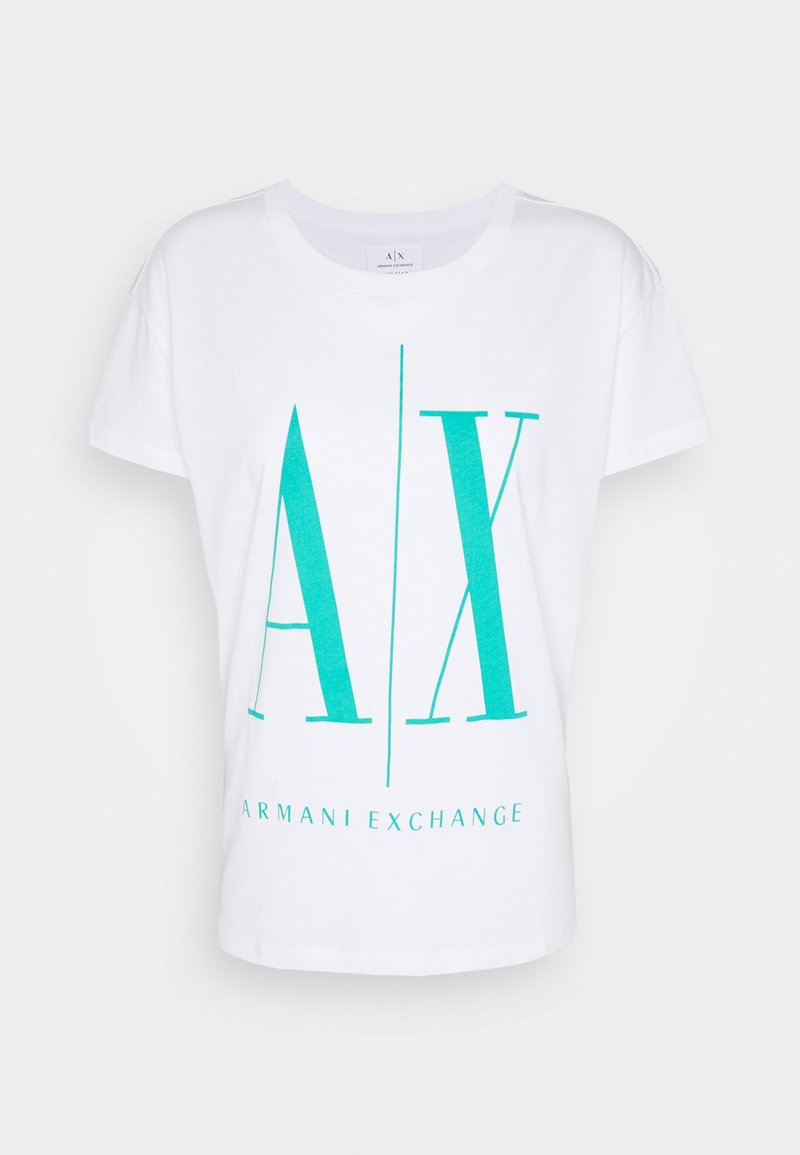 Armani Exchange - Print T-shirt - white/eden green