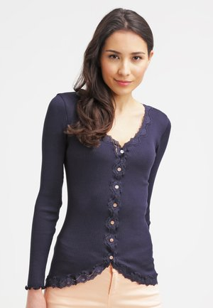 SILK-MIX CARDIGAN REGULAR LS W/REV VINTAGE LACE - Kardigan - navy