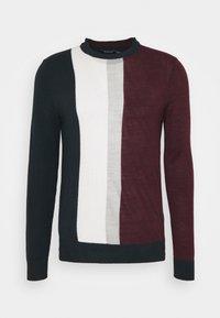 BURG WIDE VERTICAL STRIPE CREW - Stickad tröja - burgundy
