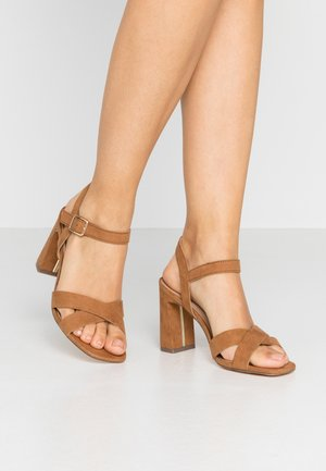 SELENA BLOCK  - High heeled sandals - tan