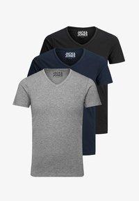 Jack & Jones - 3 PACK V-NECK - Basic T-shirt - grey/blue/black - 3
