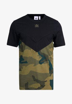 CAMO BLOCK SHORT SLEEVE GRAPHIC TEE - Print T-shirt - black/multicolor