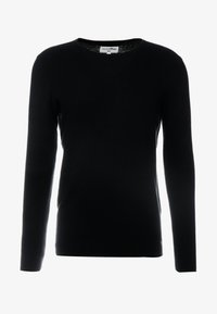 TOM TAILOR DENIM - ZIGZAG STRUCTURED CREWNECK - Stickad tröja - black - 5