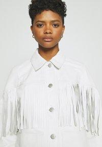 Topshop - ROY FRINGE JACKET - Leather jacket - white - 4