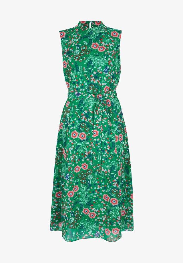 Shirt dress - sattes smaragdgrün, feldblumen