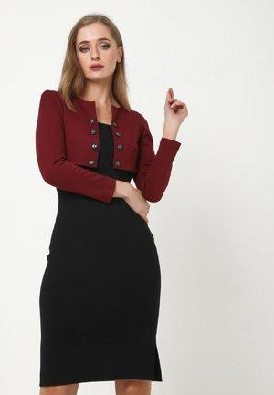 Jersey dress - schwarz, weinrot