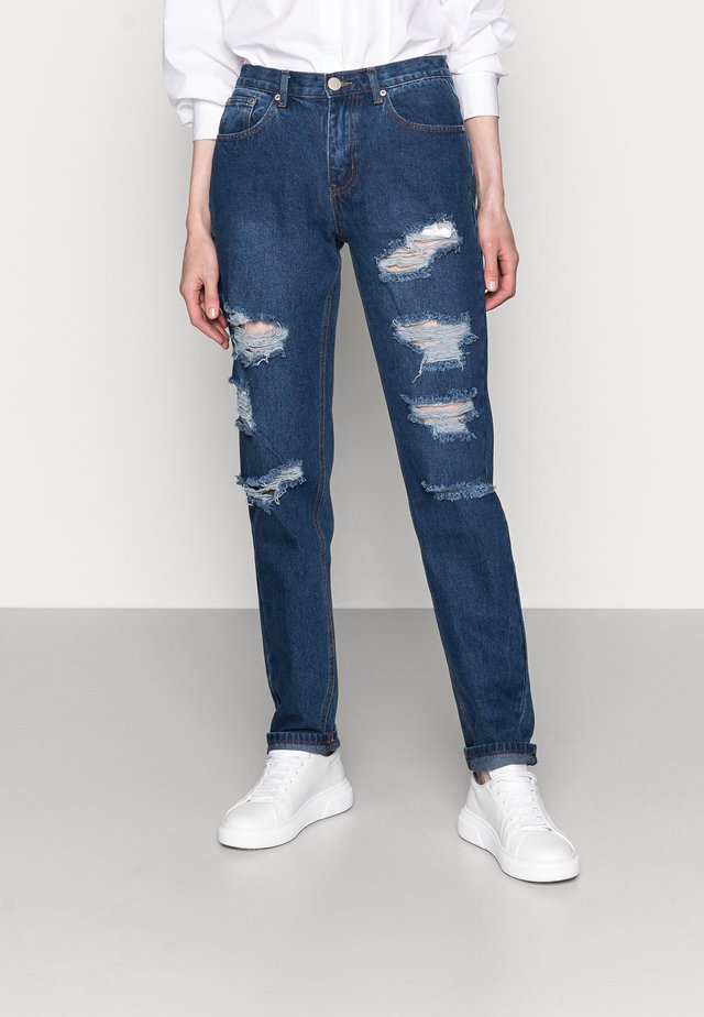 LADIES - Jean boyfriend - dark blue wash