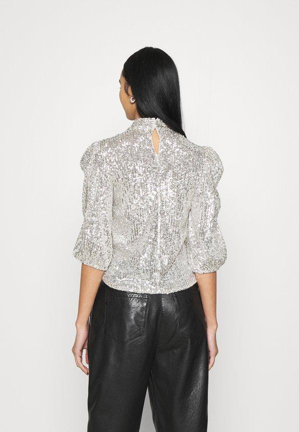 New Look STAND NECK - Bluzka - silver/srebrny NFOB