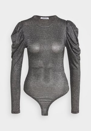BODYSUIT WITH LONG SLEEVES CREW NECK - Long sleeved top - black silver
