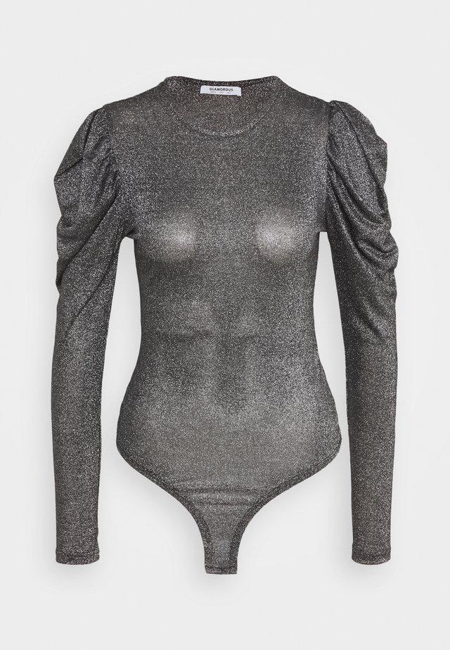 BODYSUIT WITH LONG SLEEVES CREW NECK - Top sdlouhým rukávem - black silver