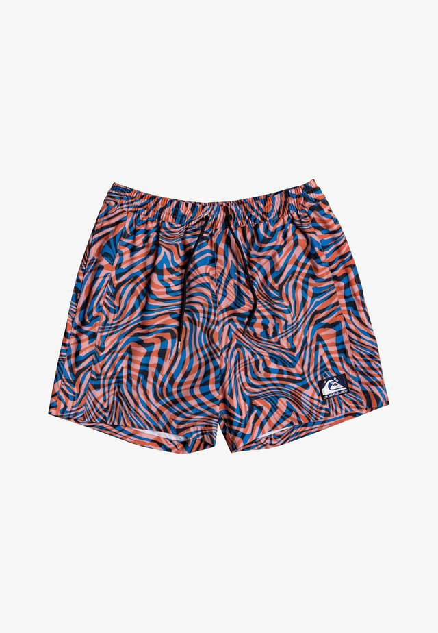 """OUT THERE 17"""" - Swimming shorts - vibrant orange wildlife"""