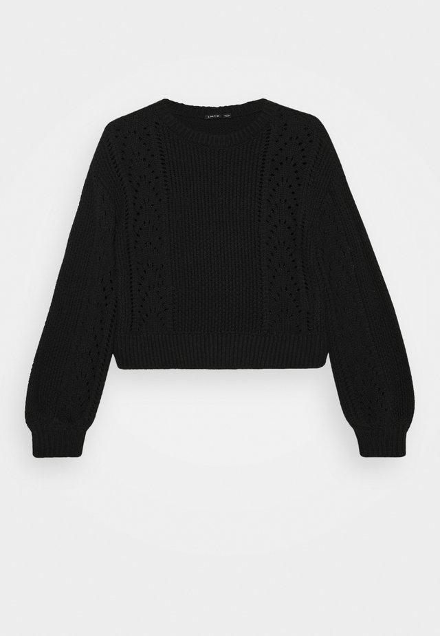 NLFDREW SHORT O NECK - Stickad tröja - black