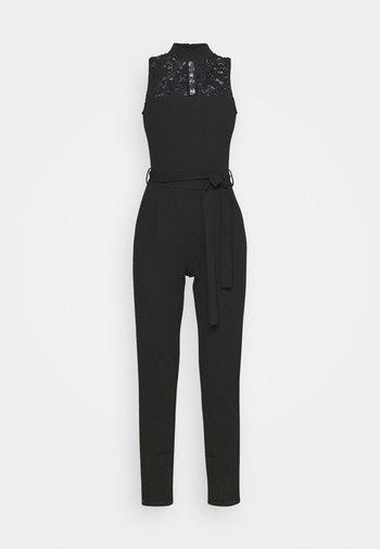 OCCASION - SLEEVELESS BELTED LACE NECKLINE JUMPSUIT - Jumpsuit - black