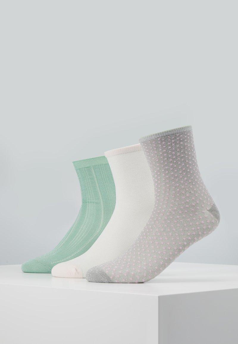 Becksöndergaard - GLITTER DRAKE DINA SMALL DOTS DINA SOLID 3 PACK - Socks - silt green/grey/white