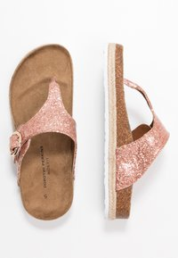 Dorothy Perkins Wide Fit - WIDE FIT FABLE FOOTBED TOE POST - tåsandaler - rose gold glitter - 3