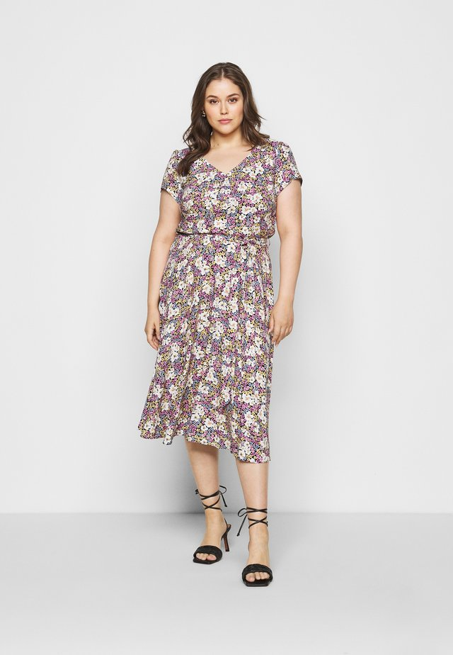BILLIE DITSY PRINTED VNECK MIDI DRESS  - Day dress - black