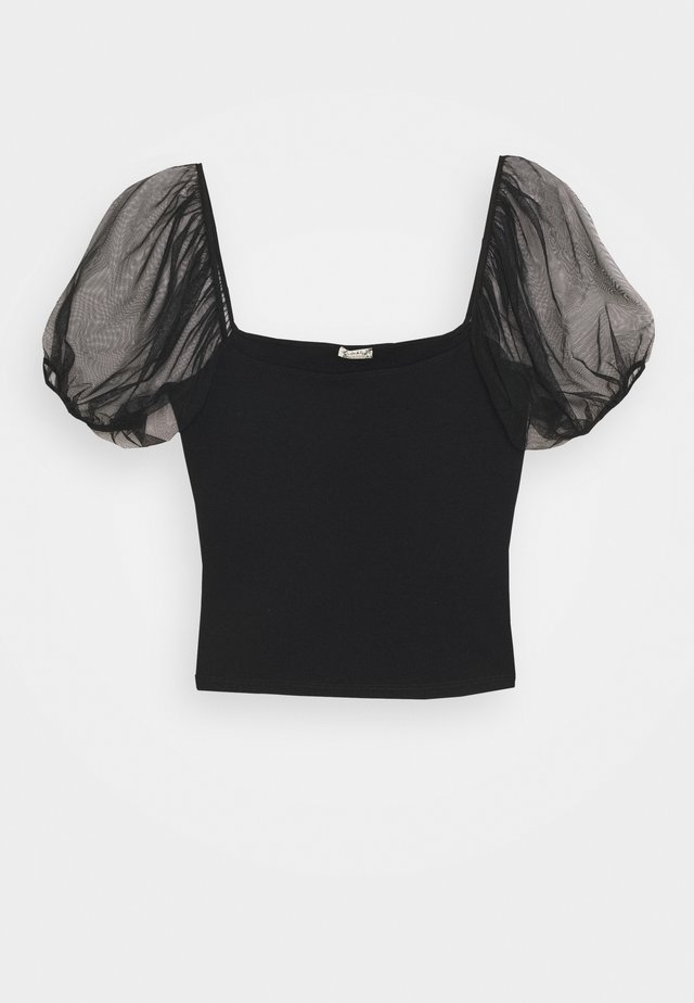 PUFF SLEEVE - T-shirt con stampa - black