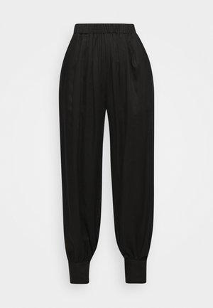 ELASTICATED TROUSER WITH CUFF HEM - Kalhoty - black