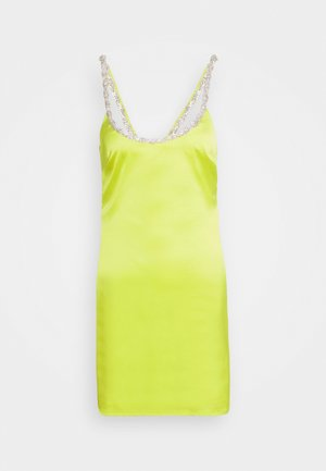 EMBELLISHED NECK BODYCON DRESS - Vestido de cóctel - lime