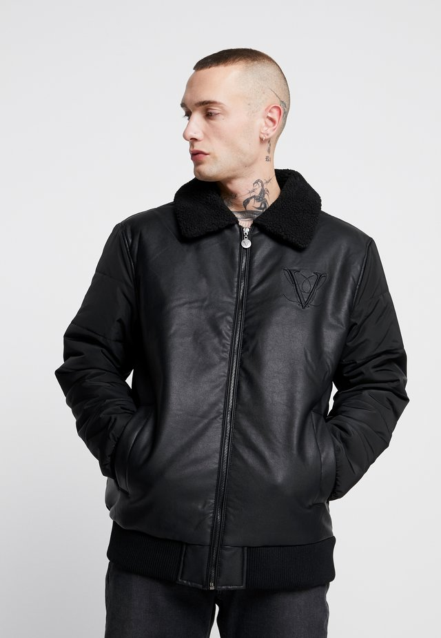 BORG COLLAR JACKET - Faux leather jacket - black