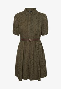 Vero Moda - STICKEREI - Shirt dress - ivy green - 0