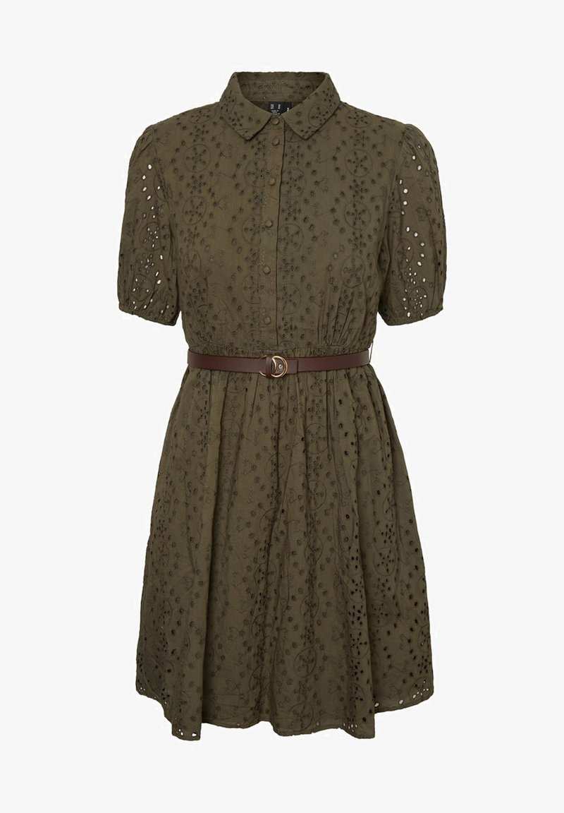 Vero Moda - STICKEREI - Shirt dress - ivy green