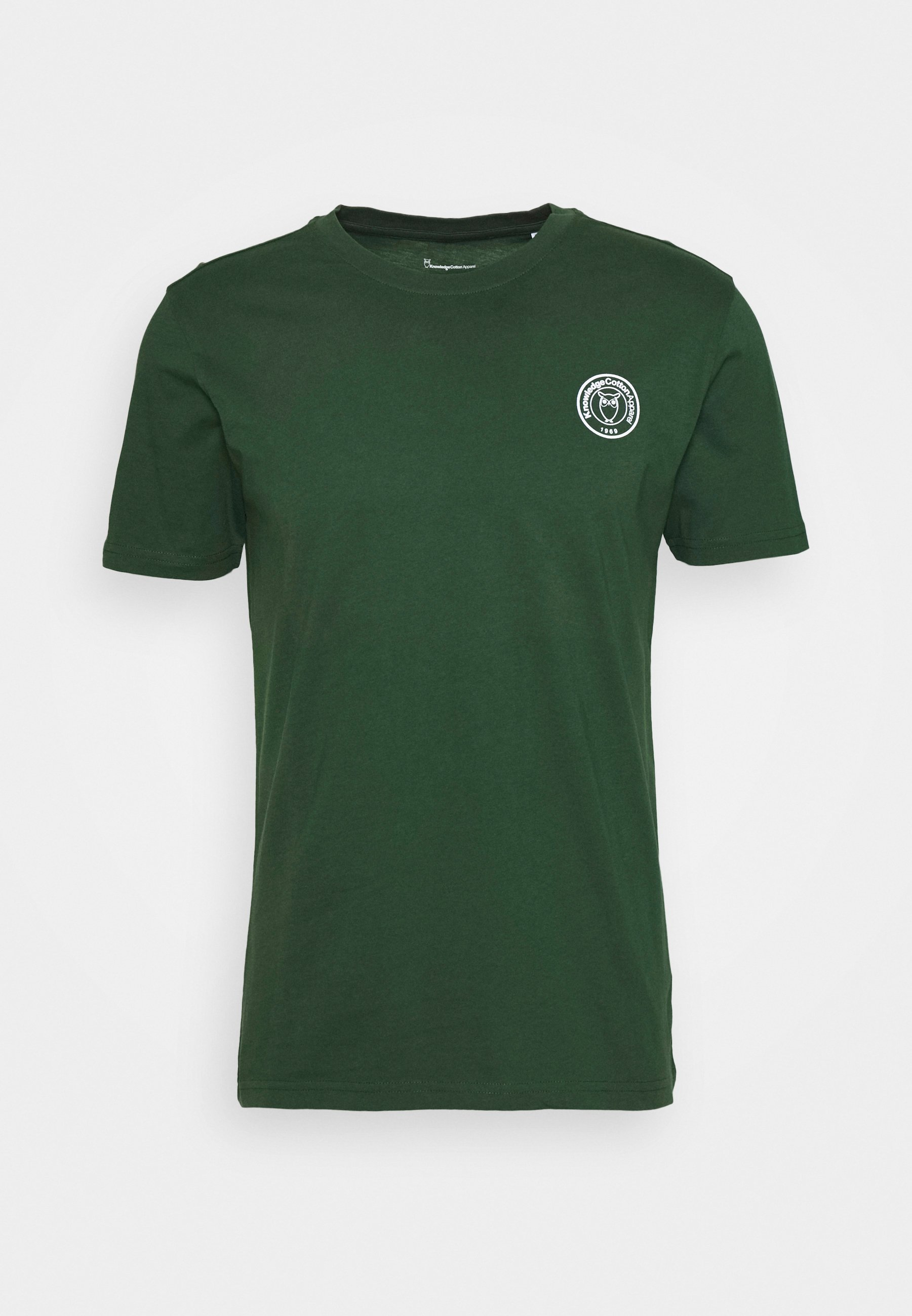 Knowledge Cotton Apparel Alder Owl Badge Tee - T-shirt Z Nadrukiem Green