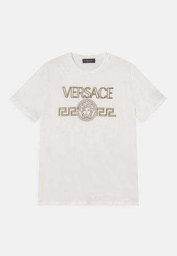 Print T-shirt - bianco/oro