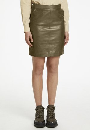 CHARGZ  - Leather skirt - capers