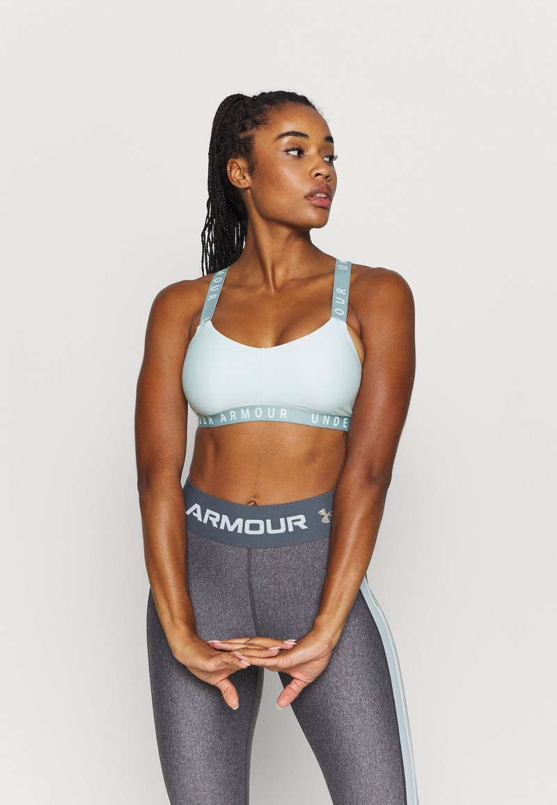 Under Armour - WORDMARK STRAPPY SPORTLETTE - Sports bra - seaglass blue
