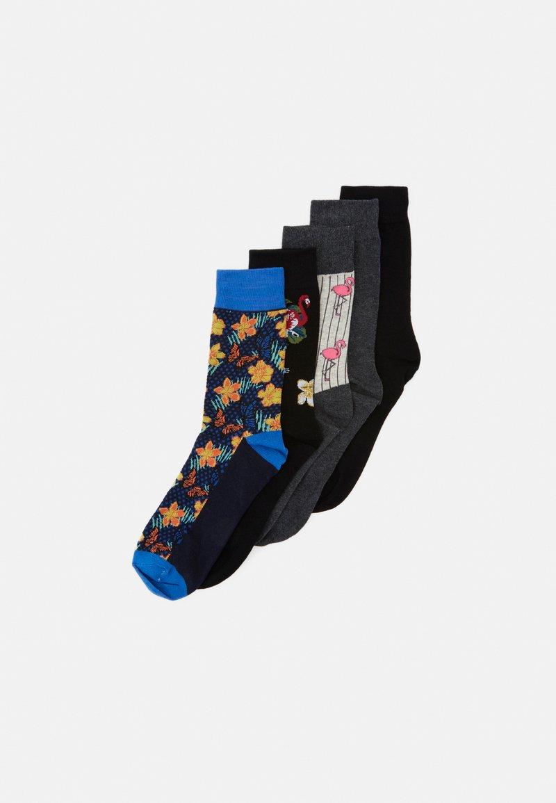 Jack & Jones - JACMIX OF ANIMALS SOCK 5 PACK - Socks - black/dark grey melange