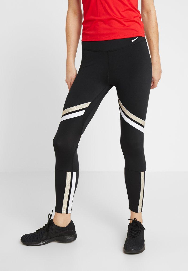 Nike Performance - ONE ICON - Legginsy - black/metallic gold/white