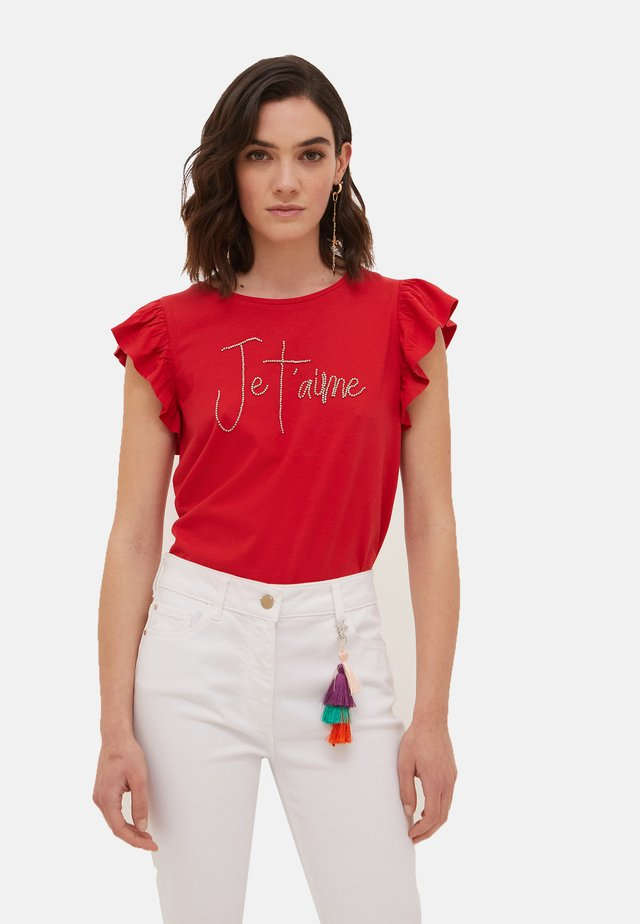 T-shirt con stampa - rosso