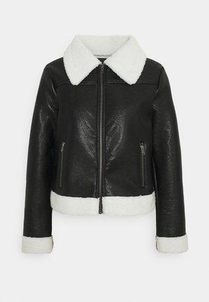 ZIP FRONT JACKET - Faux leather jacket - black/cream