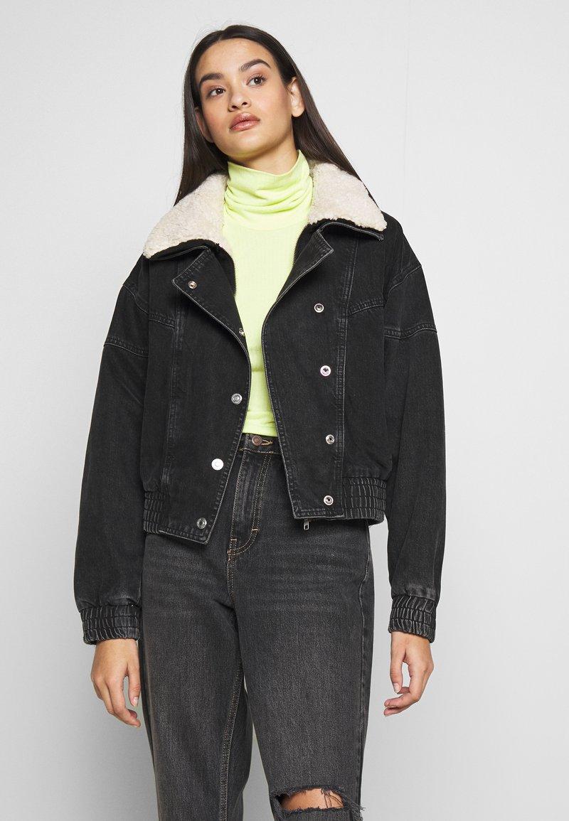 Topshop - 80S BORG NEAT JACKET - Denim jacket - wbk