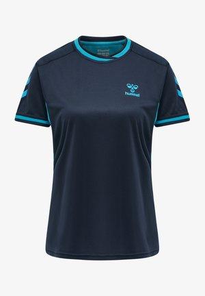T-shirt print - black iris/atomic blue