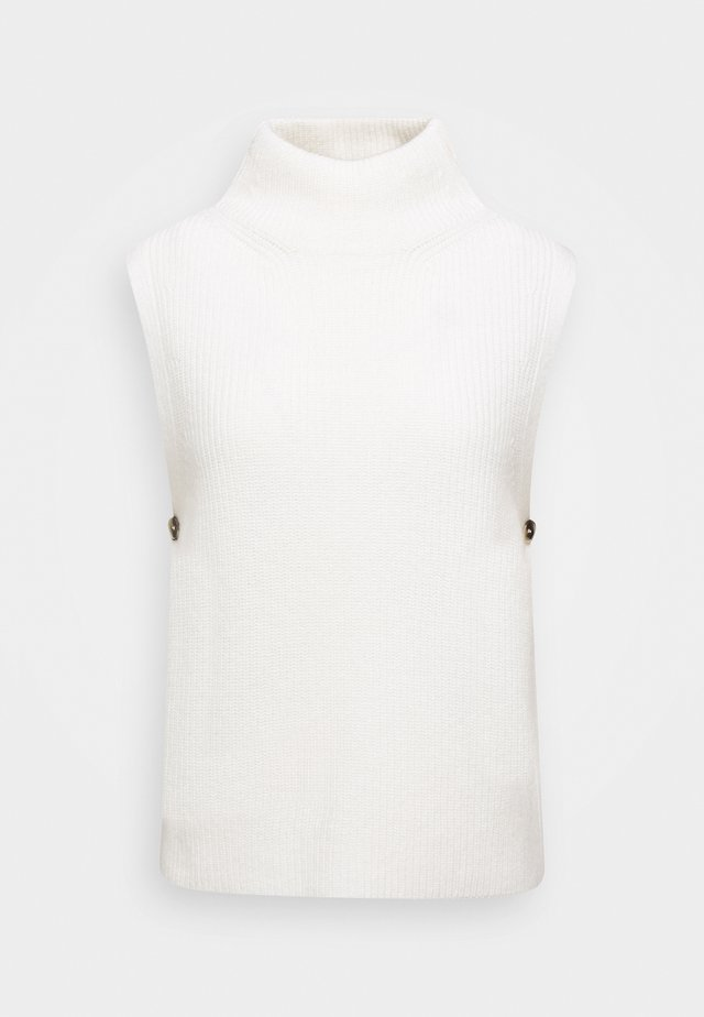 HEAVY COLLAR TURTLE NECK PRESSBUTTON AT SIDE - Strikpullover /Striktrøjer - winter natural white