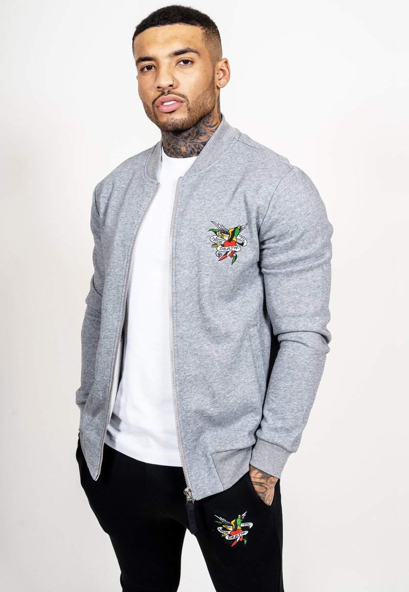 Ed Hardy - TILL DEATH BOMBER TRACKTOP - Zip-up hoodie - grey