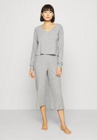 Anna Field - CROPPED RIB PJ SET - Pyjama set - mottled light grey - 0