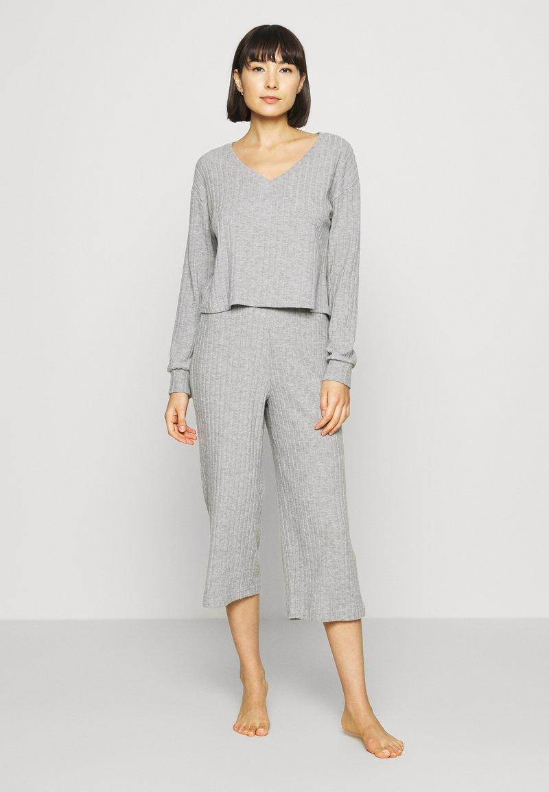 Anna Field - CROPPED RIB PJ SET - Pyjama set - mottled light grey