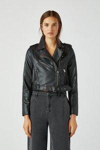 PULL&BEAR - Imitatieleren jas - black - 4