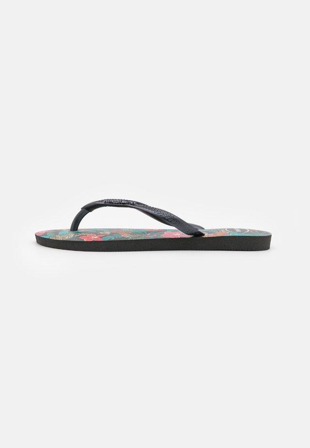 SLIM FIT TROPICAL - Flip Flops - black/dark grey metallic
