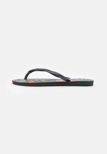 SLIM FIT TROPICAL - Sandály s odděleným palcem - black/dark grey metallic