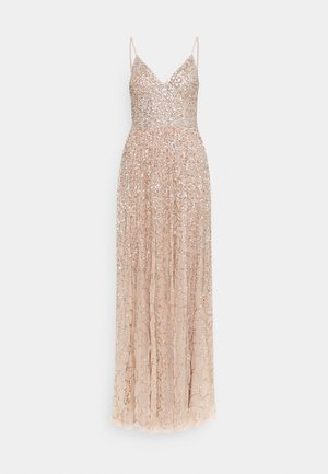 ALL OVER SEQUIN DRESS - Gallakjole - taupe blush