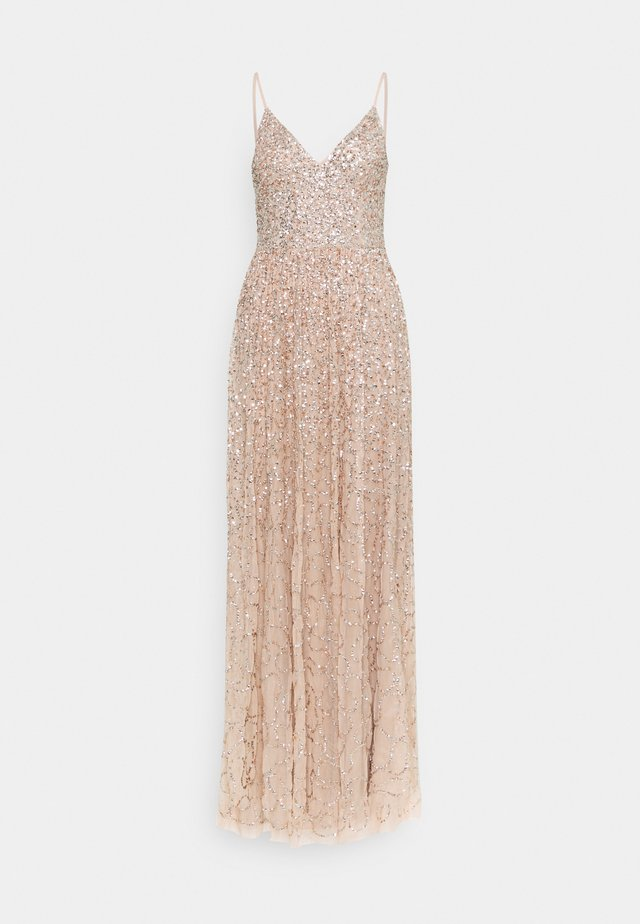 ALL OVER SEQUIN DRESS - Galajurk - taupe blush