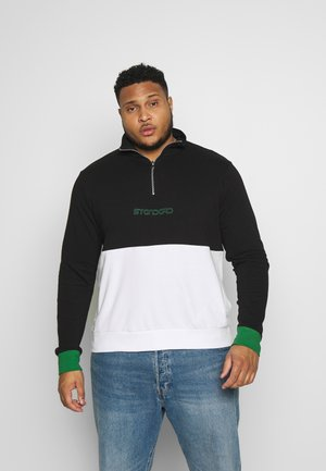 HALF ZIP IN COLOUR BLOCK PLUS - Sudadera - black/white